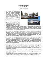 Wunsch Firmenportrait - Wunsch Öle GmbH