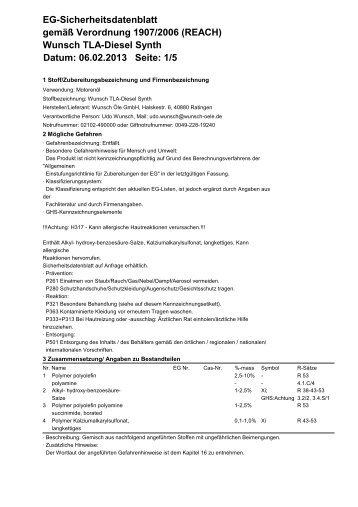 TLA-Diesel Synth - Wunsch Öle GmbH