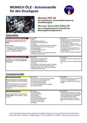 Industrie Druckguss - Wunsch Öle GmbH