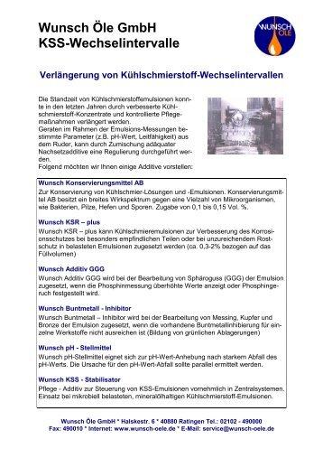 KSS Additive - Wunsch Öle GmbH