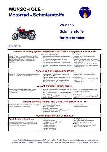 WUNSCH ÖLE - Motorrad - Schmierstoffe - Wunsch Öle GmbH