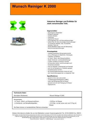 Wunsch Reiniger K 2000 - Wunsch Öle GmbH