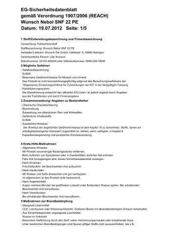 Wunsch Nebol SNF 22 PE Datum: 19.07.2012 Seite - Wunsch Öle ...