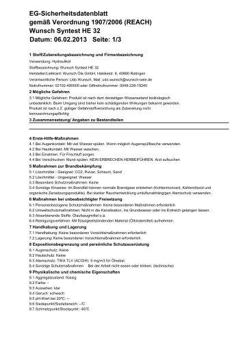 Wunsch Syntest HE 32 Datum: 06.02.2013 Seite - Wunsch Öle GmbH