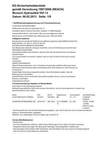 Wunsch Hydrauliköl HVI 13 Datum: 06.02.2013 Seite - Wunsch Öle ...