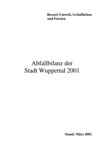 Abfallbilanz der Stadt Wuppertal 2001