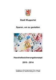 Haushaltssicherungskonzept 2010 - 2014 - Stadt Wuppertal
