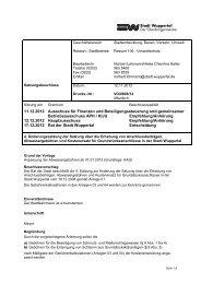 Beschlussvorlage zur 4. Änderungssatzung - Stadt Wuppertal