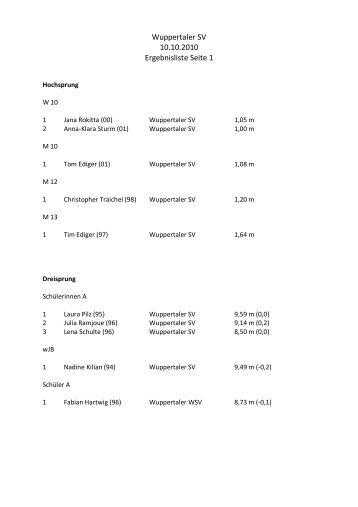 Wuppertaler SV 10.10.2010 Ergebnisliste Seite 1