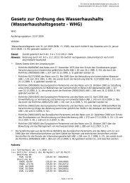 Gesetz zur Ordnung des Wasserhaushalts (Wasserhaushaltsgesetz ...