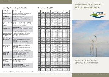 und Tidenzeiten Wurster Nordseeküste – aktuell im  märz 2013