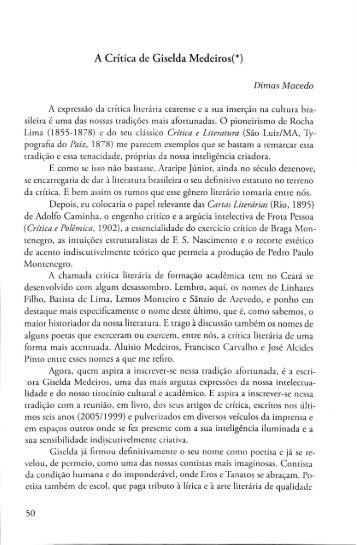 A crítica de Giselda Medeiros - Dimas Macedo