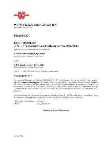 Schuldverschreibungen von 2006/2013 - wuerthfinance.net