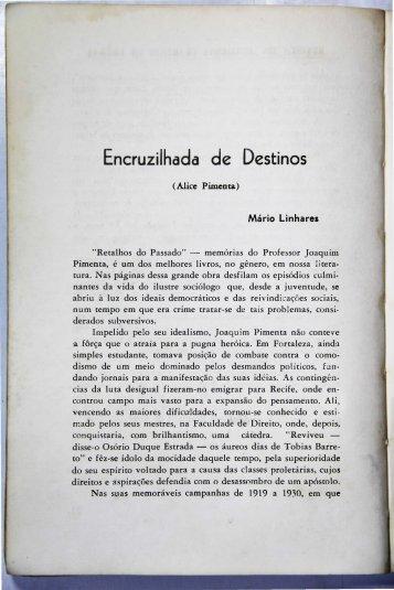 Encruzilhadas do destino Mário Linhares