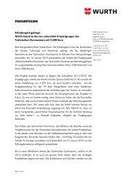 PRESSEMITTEILUNG - Würth Industrie Service GmbH & Co. KG