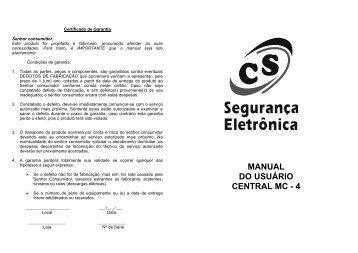 MANUAL DO USUÁRIO CENTRAL MC - 4 - CS Eletrônica