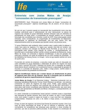 """Entrevista com Josias Matos de Araújo: """"concessões de ... - UFRJ"""