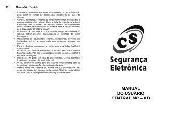 MANUAL DO USUÁRIO CENTRAL MC – 8 D - CS Eletrônica