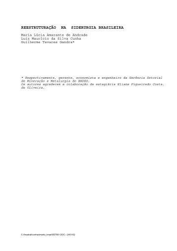 reestruturação na siderurgia brasileira - Ecologia e Gestão Ambiental