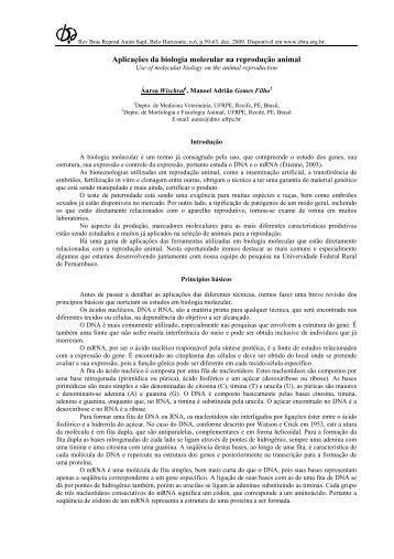 Aplicações da biologia molecular na reprodução animal - Colégio ...