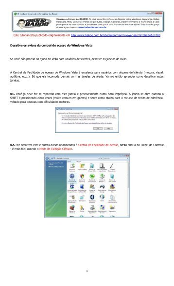 Faça o download deste tutorial (PDF) - Baboo