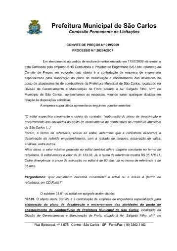 Resposta ao questionamento Convite 019/2009 - Prefeitura ...