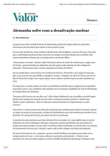 Alemanha sofre com a desativação nuclear