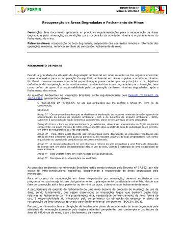 Recuperação de Áreas Degradadas e Fechamento ... - Pormin.gov.br