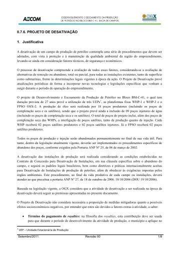 II.7.6. PROJETO DE DESATIVAÇÃO 1. Justificativa - Ibama