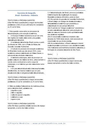 Exercícios de Geografia Brasil - Econômica ... - Projeto Medicina