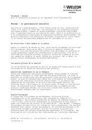Factsheet Ouverture nouveaux complexe - Weleda
