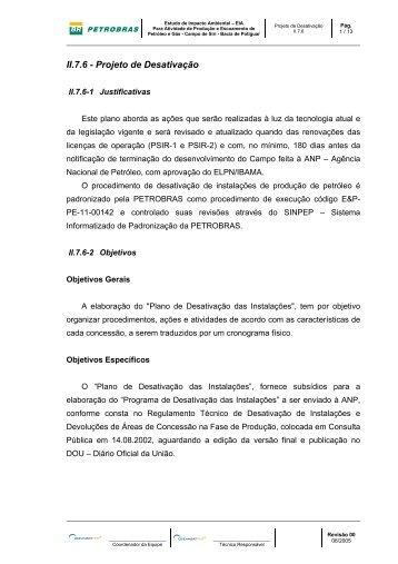II.7.6 - Projeto de Desativação - Ibama