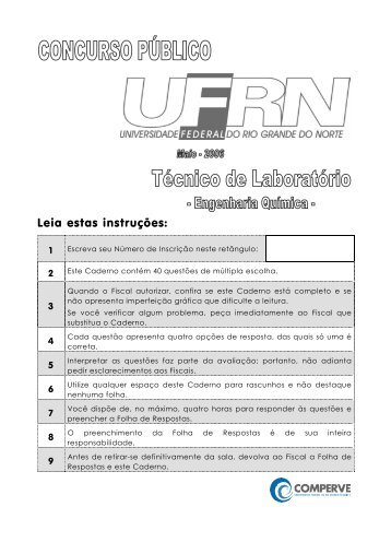 301 técnico de laboratório/engenharia química - Comperve - UFRN