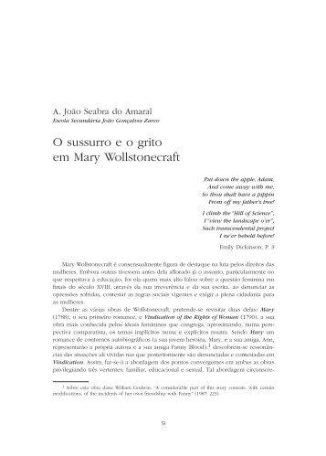 O sussurro e o grito em Mary Wollstonecraft / A