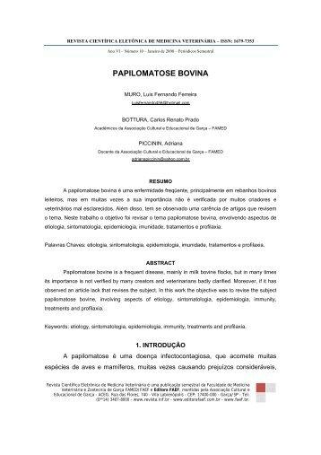 PAPILOMATOSE BOVINA - Revistas Eletrônicas
