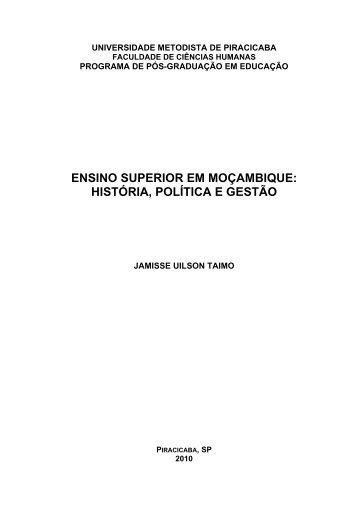 ensino superior em moçambique: história, política e gestão - Unimep