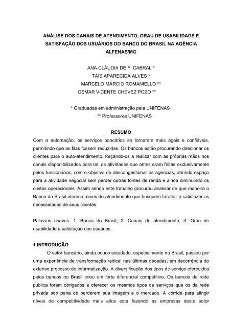 Análise dos canais de atendimento, grau de usabilidade - Unifenas