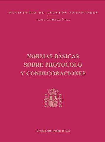 normas básicas sobre protocolo y condecoraciones - Ministerio de ...