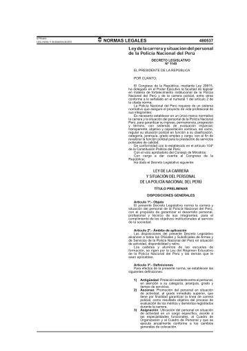 Decreto Legislativo Nº 1149 - Ley de la carrera - Policía Nacional ...