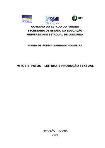 mitos e fatos - leitura e produção textual - Gestão Escolar - Estado ...