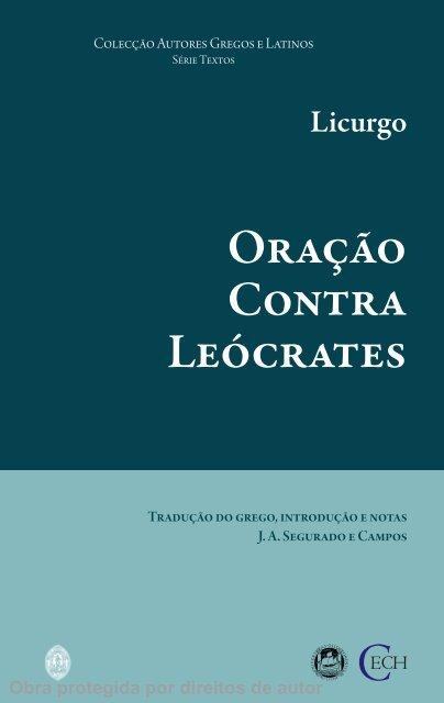Oração Contra Leócrates - Universidade de Coimbra