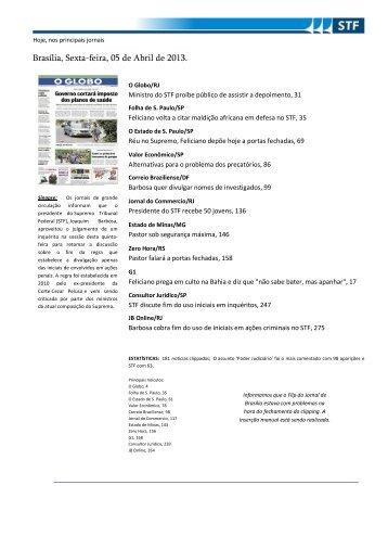 Brasília, Sexta-feira, 05 de Abril de 2013. - Para a pasta superior