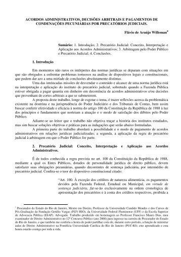 acordos administrativos, decisões arbitrais e pagamentos