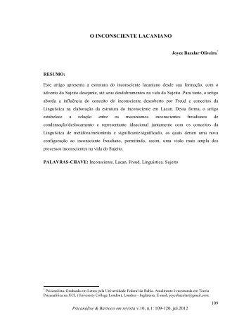 O INCONSCIENTE LACANIANO - Psicanálise & Barroco