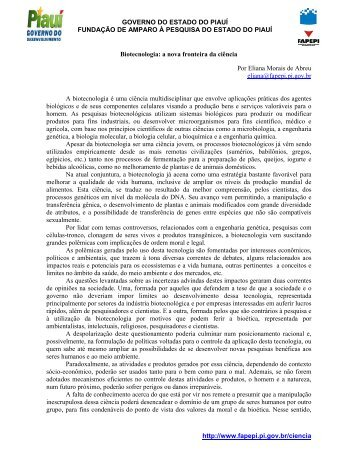 Biotecnologia: a nova fronteira da ciência - FAPEPI - Governo do ...