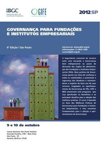 GOVERNANÇA PARA FUNDAÇÕES E INSTITUTOS EMPRESARIAIS
