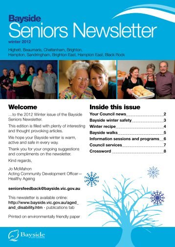 Seniors Newsletter Winter 2012 - Bayside City Council
