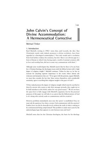 John Calvin's Concept of Divine Accommodation: A ... - Church Society