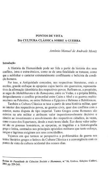 PONTOS DE VISTA DA CULTURA CLÁSSICA SOBRE ... - RUN UNL
