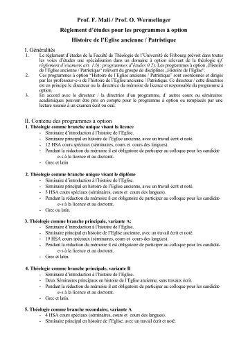 patristique fr - Université de Fribourg